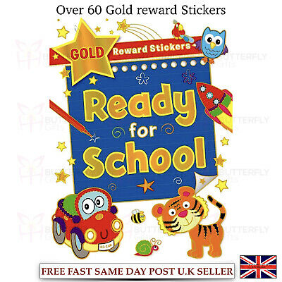 Large A4 Ready for School Activity Book with Gold Reward Stickers Age 6-8 Blue