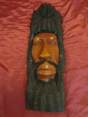 "( LARGE ) Hand Carved Wooden Jamaican Rasta Man Rastafarian Statue Face 29"" x 9"""