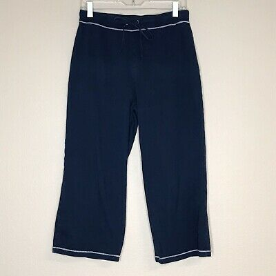 Fresh Produce Navy Blue Crop Lounge Pants Drawstring Contrasting Stitching Small