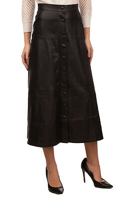 RRP €275 IRIS & INK Lamb Leather Midi A-Line Skirt Size 10 / M Made in Italy