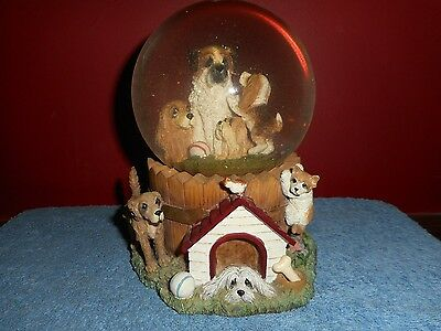 Lou Rankin Snow Dome A QUIET AFTERNOON Limited Edition Hand Numbered PUPPY Dogs