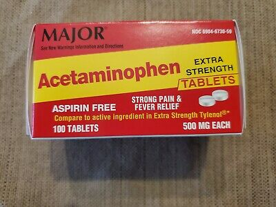 Extra Strength Acetaminophen 500 mg - 100 tablets (Compare to Tylenol) Fast Ship