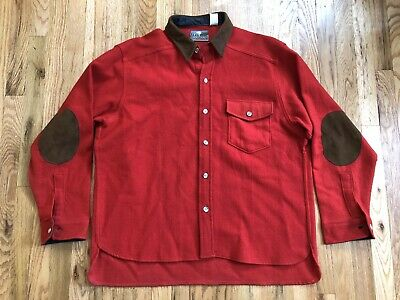 Vtg Woodbound Eastern Mountain Sports Red Wool Leather Patch Shirt - Men's XL