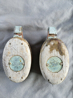 Vintage Rustic Antique Wood Copper/Brass Pulley w/ Dove Bird Block & Tackle