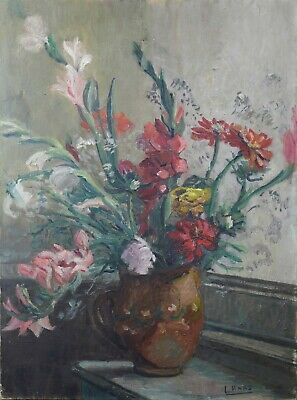 Antique Large Oil on Canvas Representative Un Bouquet Gladiola Signed Haas