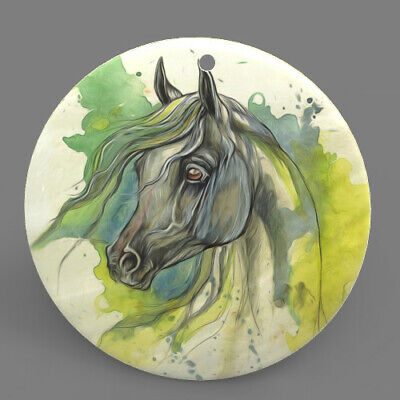 Mother of Pearl Shell Horse Color Printing  Pendant Necklace J1706 0386