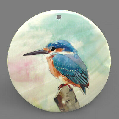 Mother of Pearl Shell Kingfisher Color Printed Pendant Necklace J1706 0362