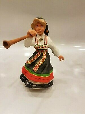 Henning Norway Hand Carved Girl with Horn 1970's