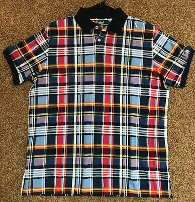 Polo Ralph Lauren Plaid Navy Orange Yellow Custom Fit Size Large NWT NEW $85