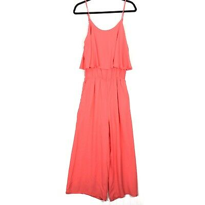 Fraiche by J Ruffle coral sleeveless cropped Romper M NEW