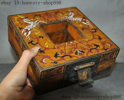 Old China Bronze Lacquerware Carved Auspicious Sika deer Jewelry Case Box Boxes