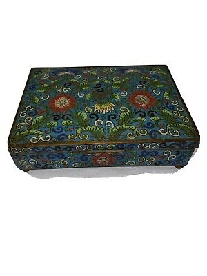 Antique Chinese Floral Cloisonne Footed Box with green Interior
