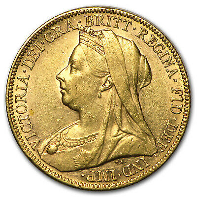 1893-1901-M Australia Gold Sovereign Victoria Veil Head Avg Circ - SKU #91481