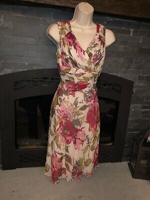 Adrianna Papell Women's Petites Size 12P Floral Print Dress 100% Silk