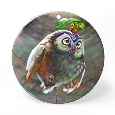 Hand Painted Owl Black Lip Shell Creative Necklace Pendant ZP1810 0048