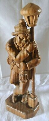 "Vintage German 19"" Wood Carved Figure Alcohol Drinking Man Resting on Lamp Post"
