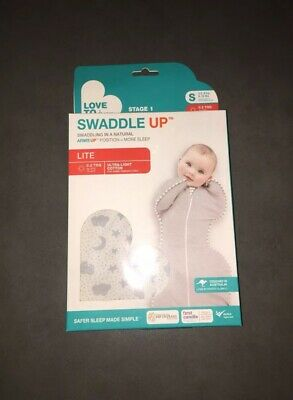 NEW Love to Dream SWADDLE UP LITE 0.2TOG -GREY  - SMALL SIZE- STARS, MOON, CLOUD