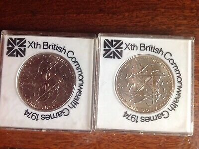 2 Collectable New Zealand Xth British 1974 Commonwealth Games One Dollar Coins