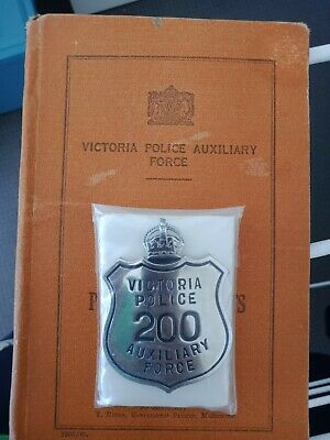 Victoria Police Auxiliary Matching Badge And Book