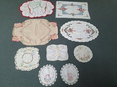 9 x Vintage Embroidered Doilys