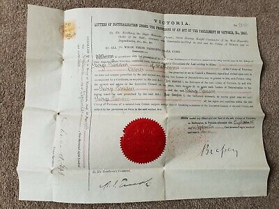 Very Rare Antique Genunie Naturalisation Act Parliament Certificate 1897