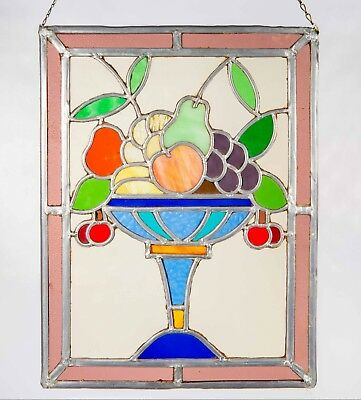 "Antique Stained Glass Window with Leaded Glass Still Life Fruit Basket 10""x13"""