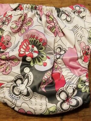 (I) Pink Floral Cloth Pocket Diaper Size: OS