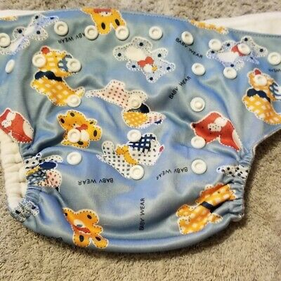 (I) Blue Bears & Dogs Cloth Pocket Diaper Size: OS