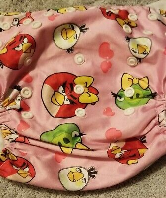 (I) Pink Angry Birds Themed Cloth Pocket Diaper Size: OS