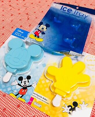Disney Mickey Mouse Popsicle Makers Mickey Face & Hand Mold & Ice Tray New Japan