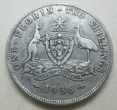 💥1936 Australia King George V One Florin 2 Shilling Coin Very Nice Used