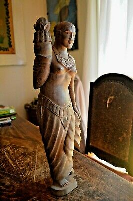 """Antique Wooden Curved Statue Woman Figure Holding Lotus Far East 18"""""""