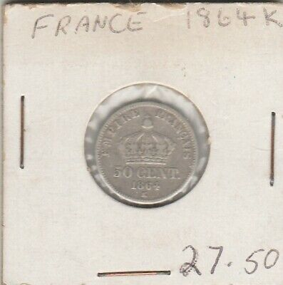 1864       FRANCE     50 cent    silver coin