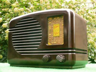 STUNNING 1940's Vintage Art Deco HEALING GOLDEN VOICE Brown Bakelite Valve Radio