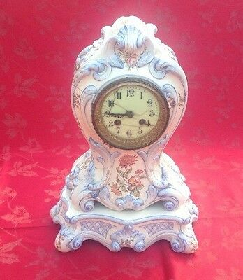 Antique French Pottery Clock And Base With Pendulum  For Restoration