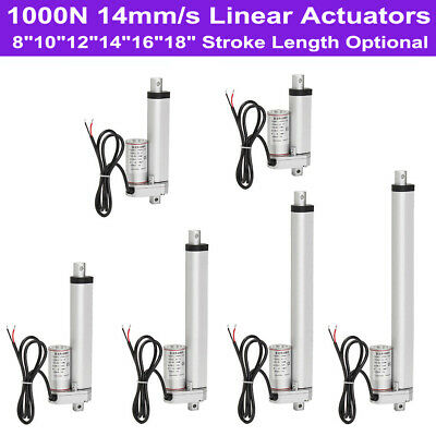"14mm//s DC 12V Linear Actuator 8/""-18/"" Stroke 1000N//220LBS Max Lift Electric Motor"