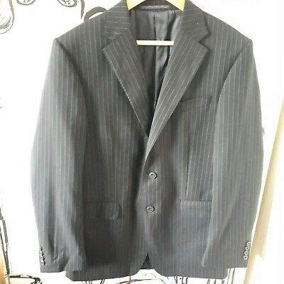 Size 38 Long Marks & Spencer 100% Pure New Wool Navy Blue Pinstripe Suit Jacket