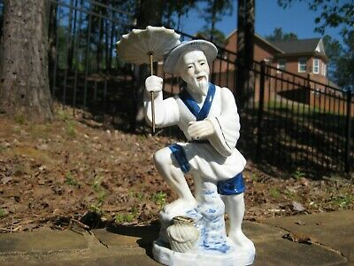 Vintage Chinese Blue White Porcelain Old Man with Umbrella