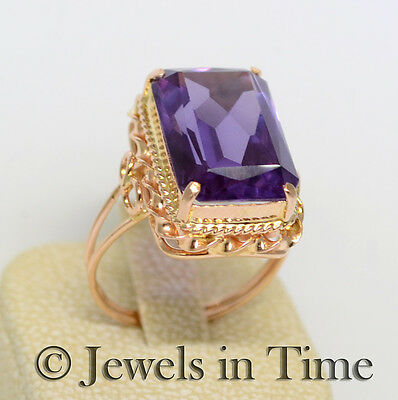 10 Carat Amethyst Ring in 14k Rose Gold Size 8.5