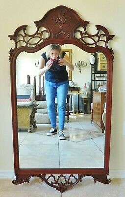 """Large Antique/Vtg 49"""" Ornate Solid Mahogany Wood Carved Flowers Wall Mirror"""