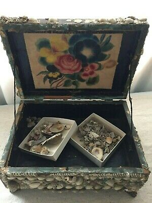 Antique Victorian Sailors Valentine Sea Shell Art Seashell Box THEOREM Painting