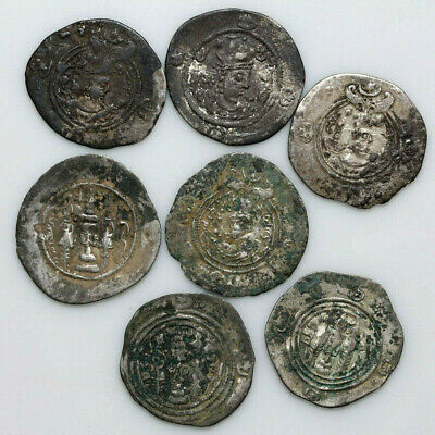 Collection Of 7 Ancient Sasanian Uncleaned Silver Large Coins Ca 400-600 Ad