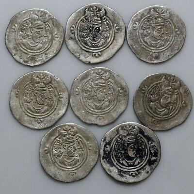 Collection Of 8 Ancient Sasanian Silver Large Coins Ca 400-600 Ad