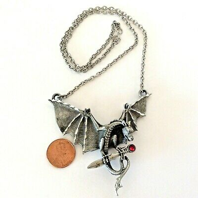 WINGED DRAGON Mystica Necklace Pendant Silver Finish Jewelry Dragons