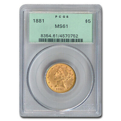 1881 $5 Liberty Gold Half Eagle MS-61 PCGS - SKU#210554