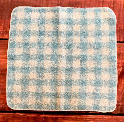 VTG MCM Fieldcrest Yves Saint Laurent YSL Blue Plaid Gingham Bath Hand Towel USA