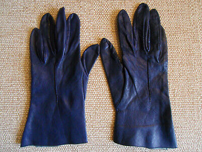 VINTAGE Ladies Womens Navy Blue Soft Leather Gloves  Size 7