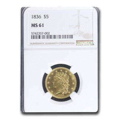 1836 $5 Gold Classic Head Half Eagle MS-61 NGC - SKU#193096
