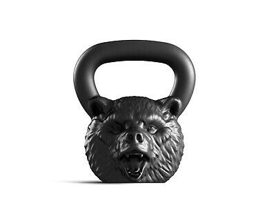 Designer Cast Kettlebell Iron Bear Head Russian Weight 16kg 35lb