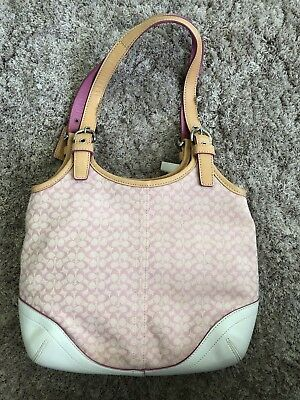 NWT Coach Soho Pink Canvas and White/Tan Leather Shoulder Bag, Purse 7025